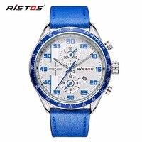 RISTOS Quartz Men Watch Casual Genuine Leather Watches Reloj Masculino Wristwatch Luxury Reloj Hombre Military Christmas