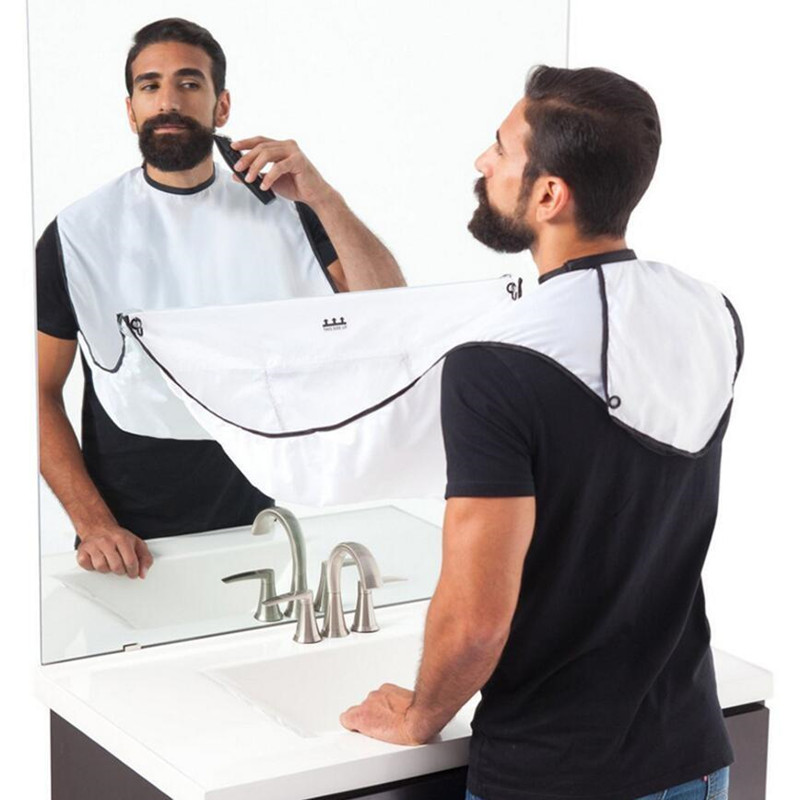 Drop Shipping Men's Pongee Beard Care Shaving Trimming Apron Nose Hair Trimmer Shave Face Beauty Care Bib Cape Sink Cloth hot sale man beard bib bathroom beard apron for man beard trimming catcher waterproof floral cloth household cleaning protection