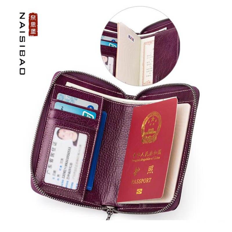 NAISIBAO 2020 Nouveau sac de document En Cuir passeport multifonction sac pochette pour tickets de voyage passeport housse de protection sac de rangement - 2