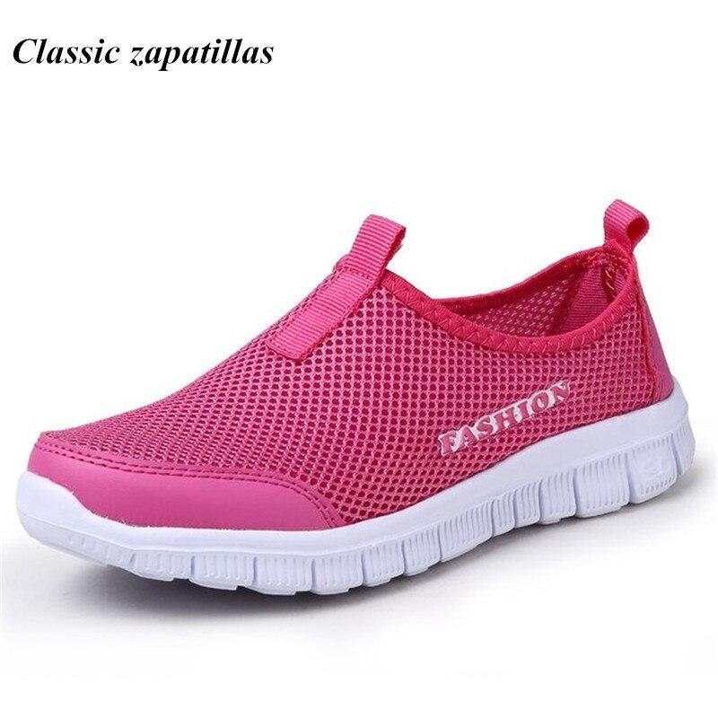 Летняя женская обувь Мода 2017 г. однотонная дышащая любителей Повседневная Обувь Лоферы для женщин женские Туфли без каблуков плюс размеры: 35–46 Slip-On сети Обувь