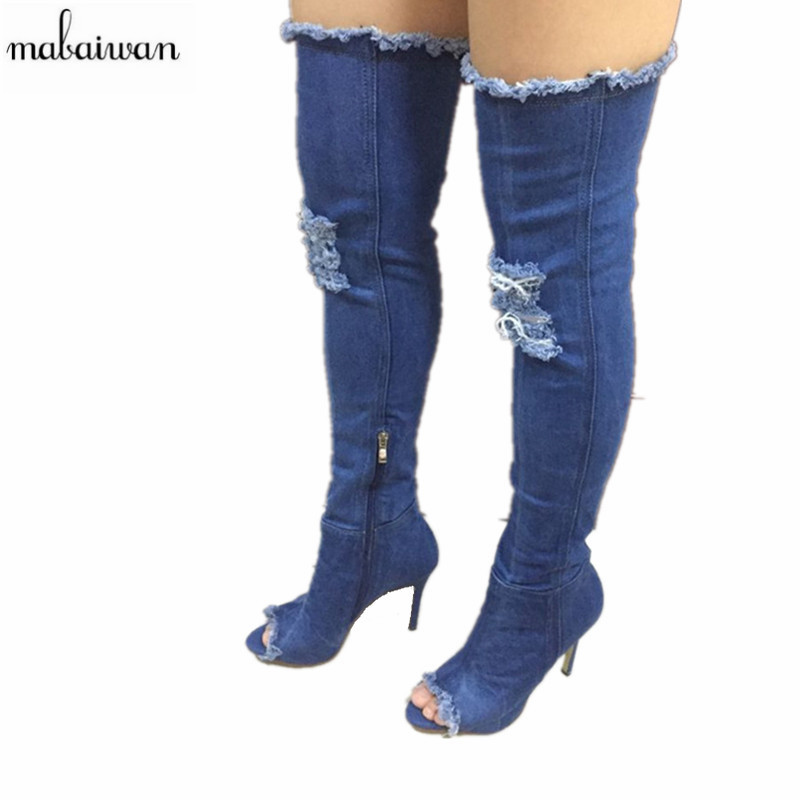 New Turned-over Edge Women Shoes Denim Blue Over The Knee Boots Sexy Open Toe Thin High Heels Boots Shoes Woman Thigh High Boots  new arrival high quality over the knee women boots sexy pointed toe shoes stiletto high heels blue denim jeans women boots