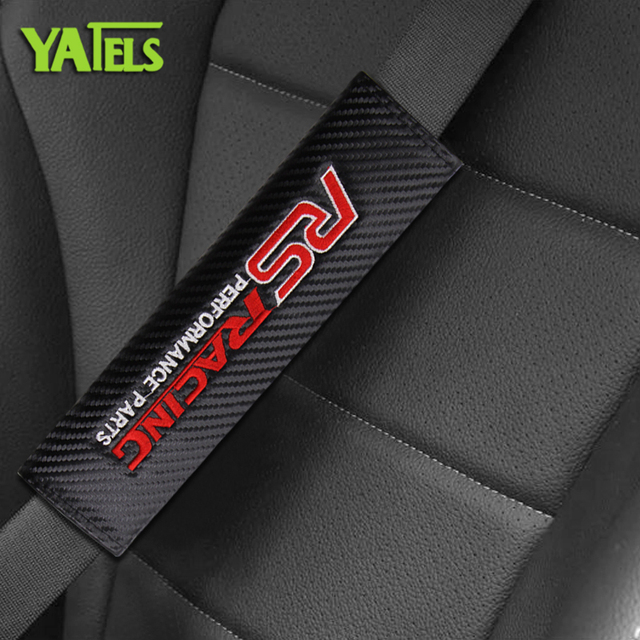1pcs Car styling Carbon fiber seat belt Protection cover Car badge shoulder pad For RS Racing performance parts logo Accessories