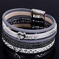 Mais novo estilo de largura pulseira magnética com várias camadas de couro PU e pulseiras magnéticas para as mulheres do encanto do metal presentes B1575