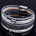 Newest style wide magnetic bracelet with multilayer PU leather and metal charm magnetic bracelets for women gifts B1575