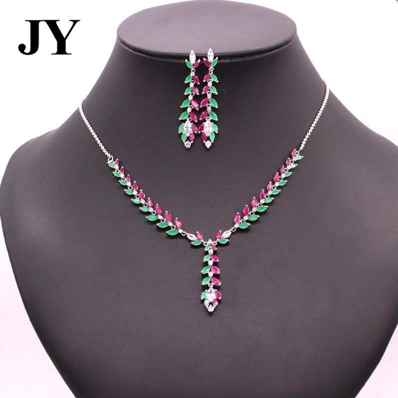 JY Fashion New Arrival Luxury Elegant Necklace Party Earring For Women Charm Vintage Jewelry Sets Woman Brincos Best Love Gift