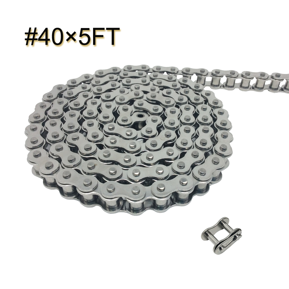 08A-1 #40 5FT Stainless Steel Roller Chain with 1 Connecting Link for Go Carts, Mini Bikes, Garage Gate Replacement Parts 0 127mm standard stainless steel wire brush for metal anilox roller