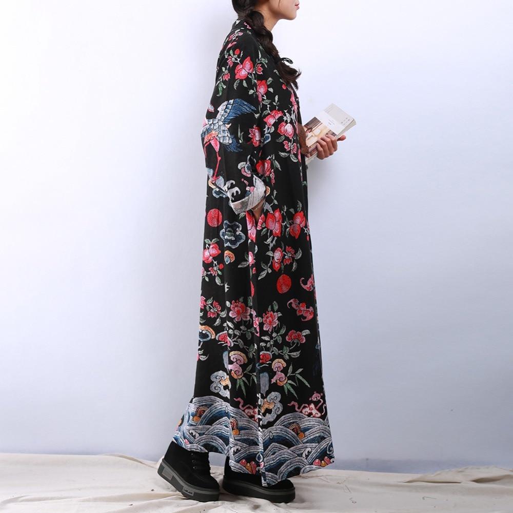 Broderie Femme Chic Blue Vintage Conception Robe Chinoise Printemps red Lin Maxi Qing Dark Lzjn Automne Femmes Dynastie 2019 Pour Les Coton Robes eroxBdC