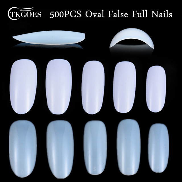 500pcs Oval Full Round Acrylic False Nails Clear/Nature/White French ...