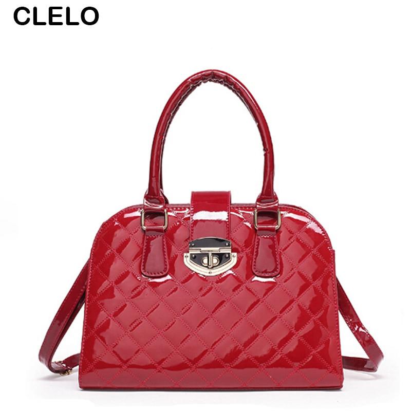 CLELO Luxury Designer Handbags Women Bags Fashion Diamond Lattice Large Shoulder Bag Female Pu Leather Lock Shell Bolsos Mujer