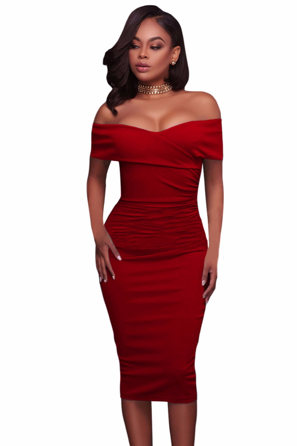 Red-Ruched-Off-Shoulder-Bodycon-Midi-Dress-LC61507-3-1