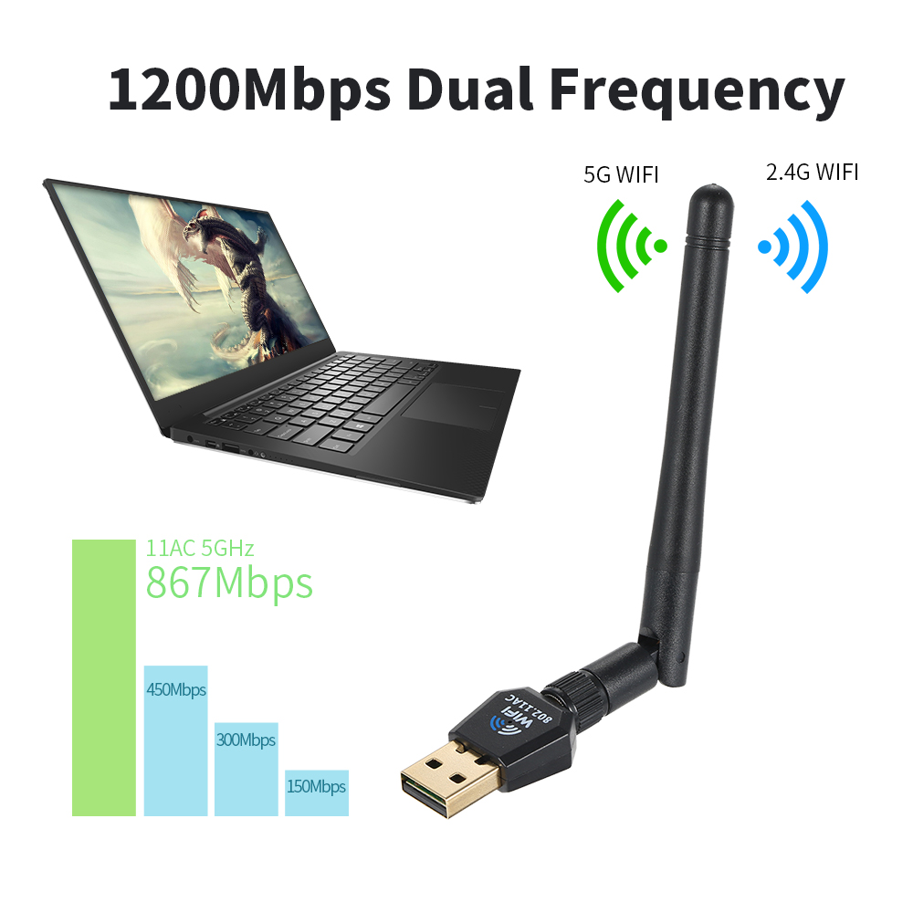 USB Wifi Adapter 1200Mbps Daul Band Wifi Adapter  (2.4G/300M+5G/867M) 802.11 Ac Usb Wifi For Desktop PC WinXP/Vista/7/8/8.1/10