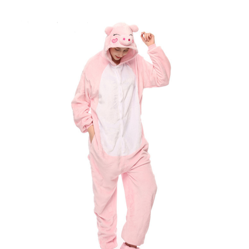 Autumn Halloween Adult Anime Pajamas Sets Cartoon Sleepwear Women Pajamas Flannel Animal Happy Pigs Pajamas Winter Warm Hooded