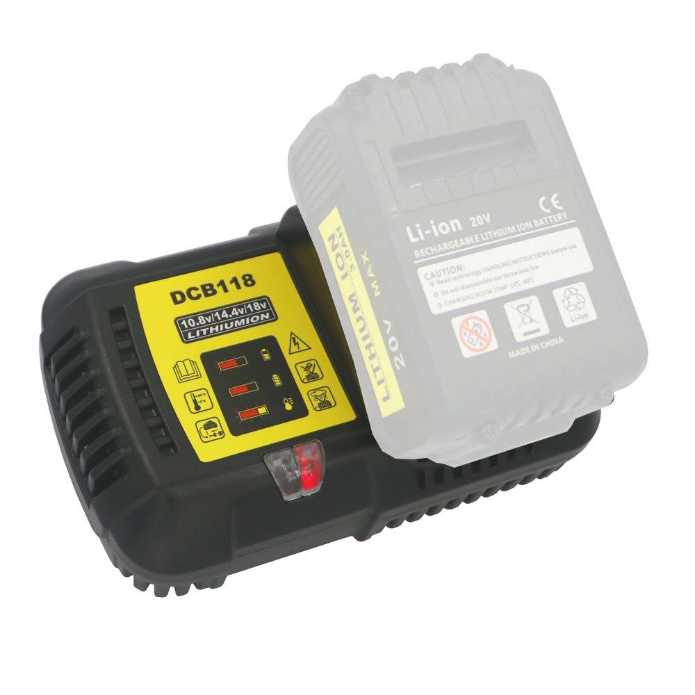 Dvisi 4.5A schnelle li ion batterie Ladegerät für Dewalt DCB118 12 v/14,4 v/20 v/60 v DCB200 DCB180 DCB181 DCB182 DCB120 Batterie Ladegerät-in Ladegeräte aus Verbraucherelektronik bei  Gruppe 1