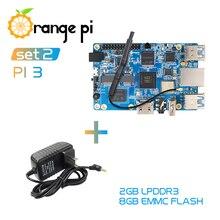 Orange Pi 3 Set2: OPI 3 + fuente de alimentación, H6 2GB LPDDR3 + 8GB EMMC Flash Gigabyte AP6256 BT5.0 soporte Android 7,0, Ubuntu, Linux