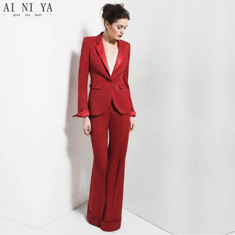 Red One Buttom 2 Piece Set Womens Business Suits Work Female Office Uniform Elegant Pant Suits Evening Straight Trousers Custom