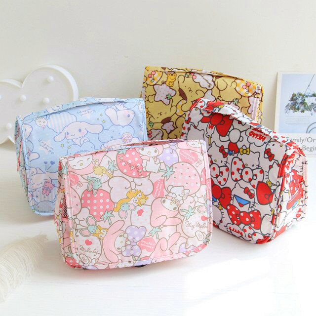 Cartoon Japan Hello Kitty My Melody Cinnamoroll Pompompurin Cosmetic Bag Women Travel Pouch Wash Bags Girls Storage Makeup Bag