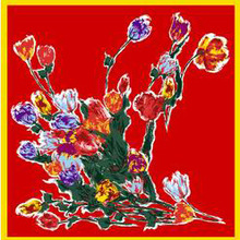 silk scarf woman cross-border 110cm flower printing head plain shawl large square bandana