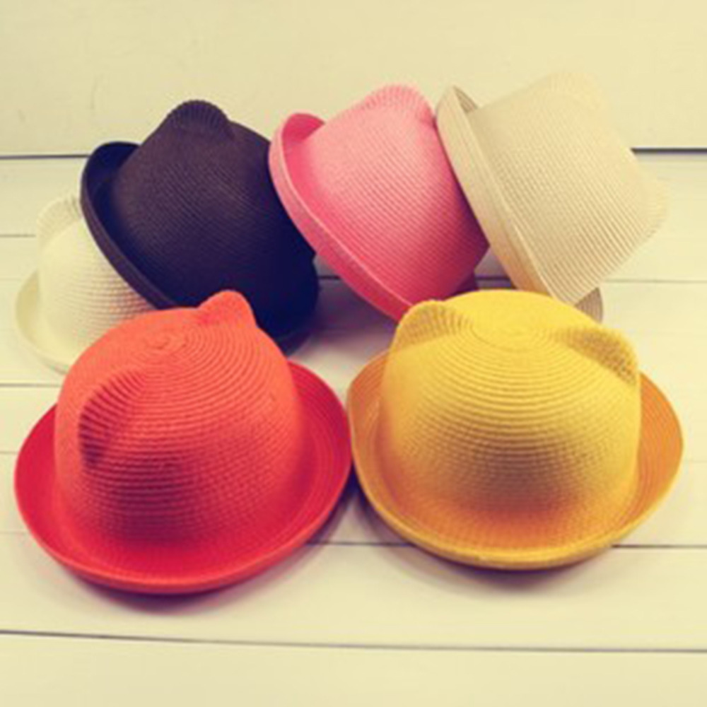 children  Cartoon cat ears curling hat straw hat holiday beach hat pure color straw hat stetson men s breakers premium shantung straw hat