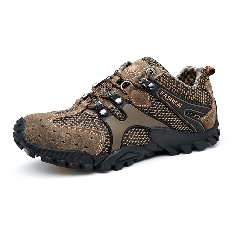 ФОТО 2016 Men Hiking Shoes Clorts Sneakers Men Rubber Mountain Shoes Climbing Men Leather Summer Outdoor  Trekking Shoes Hiking Boots