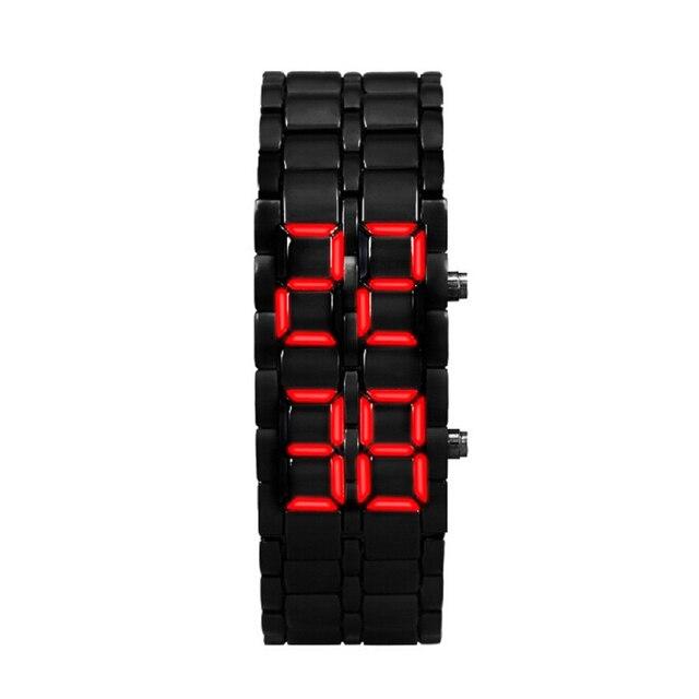 Splendid New Fashion 2x Lava Style Iron Samurai Black Bracelet LED Japanese Inspired Watch RED / BLUE Hours Reloj Mujer