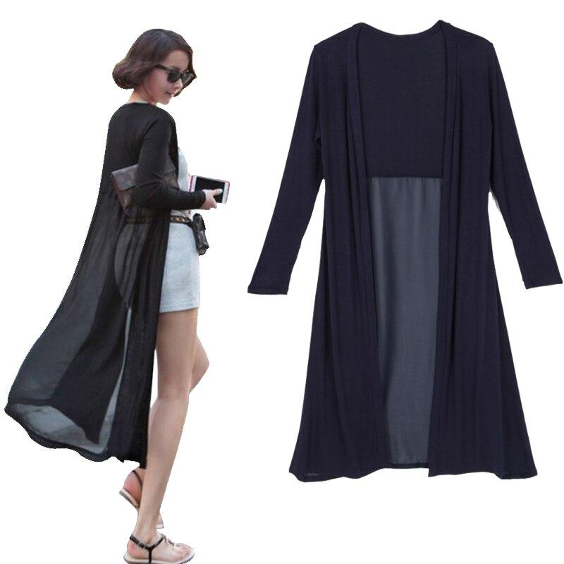 Cardigan Feminino 2017 Ankle Length Sweater Coat Women Knitted Long Sleeve Korean Vintage Black Oversized Sweaters Dress Jeaz