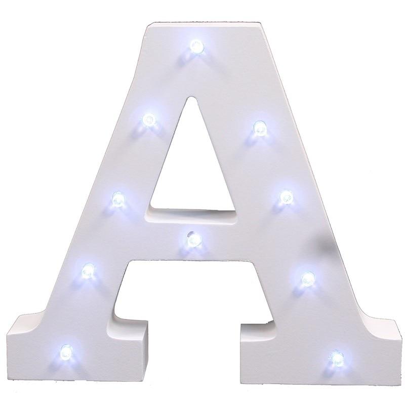 Beyaz ahşap LED gece mektupları letra luminosa düğün kapalı - Gece Lambası - Fotoğraf 6