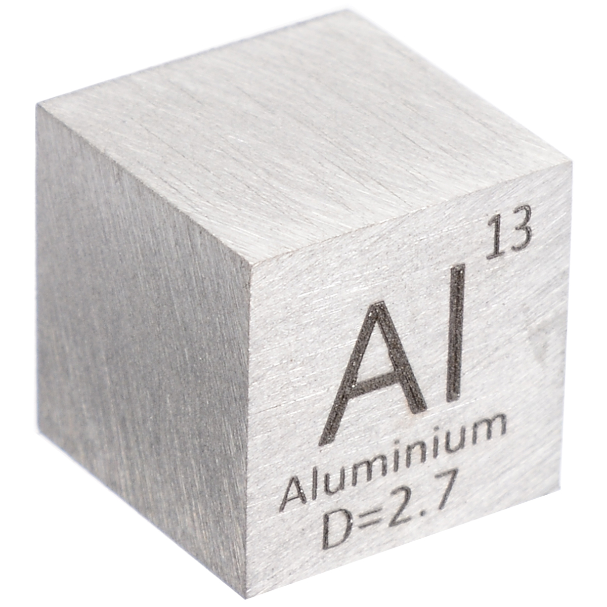 New 1Pcs 99.99% High Purity Aluminum Alloy 10mm Length Cube Carved Element Periodic Table