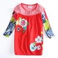 Nova niños niñas vestido bordado vestido de flores ropa de bebé otoño bebé ropa de los niños caen vestidos de niña kids wear vestidos