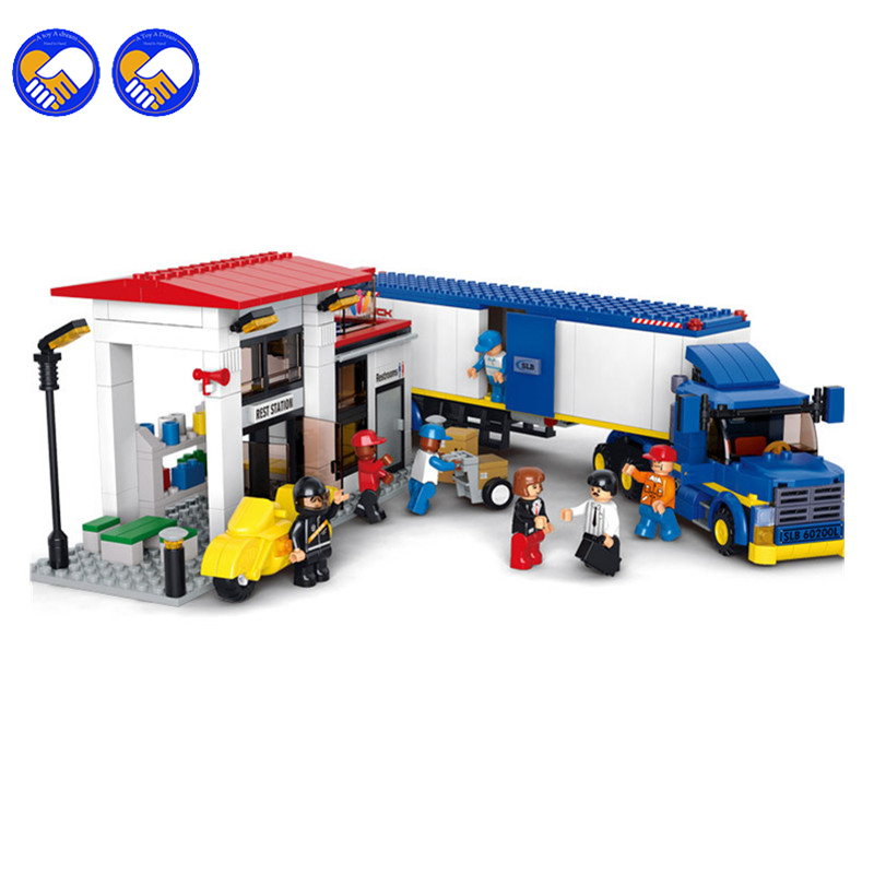 A toy A dream Sluban B0318 City Heavy Van Truck Blocks&Bricks Toys Kids Boy Car Set Game Model Compatible with Legoingly Gift cute falling tumbling monkeys blocks toy board game kids balancing training toys parenting family game blocks toy