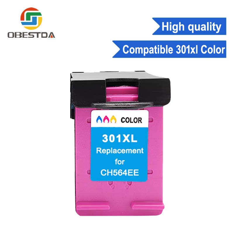Obestda 301XL Refilled Ink font b Cartridge b font Replacement for HP 301 xl TRI COLOR