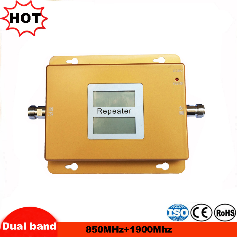 LCD Display GSM Amplifier 850 3G 1900 65dB Gain Cellular Signal Repeater 850 1900 Dual Band Booster Amplifier 4G