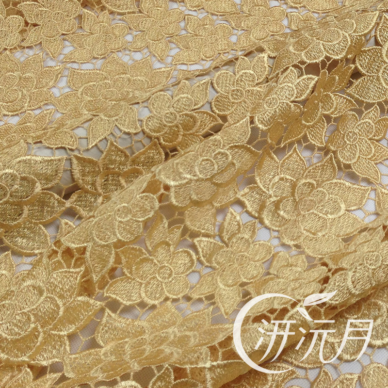 Light Wire Water Soluble Lace Material Champagne Gold Three Dimensional Flowers Cheongsam