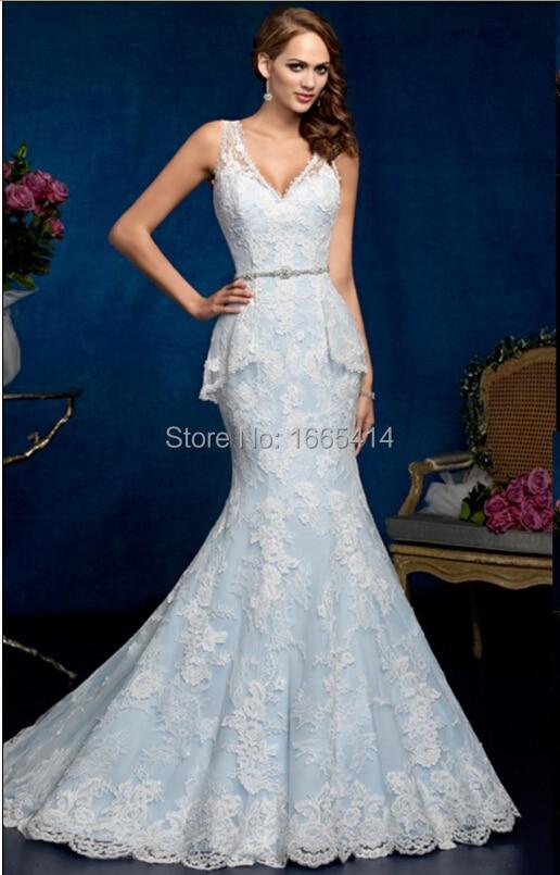 9635b0c694e8 Sexy Long Mermaid Wedding Dresses V neck Sleeveless Sweep Train White Lace  Light Sky Blue Wedding Gowns Vestido De Noiva-in Wedding Dresses from  Weddings ...