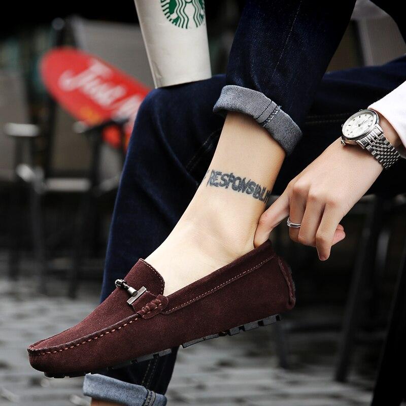 Весенняя новая кожаная мужская обувь в горошек мужская кожаная обувь с мягкой подошвой и ручной строчкой кожаная мужская обувь для вождения - 3