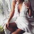V profundo neck summer dress sexy backless branco mulheres dress vestidos de festa curto beach party dress para impressionar