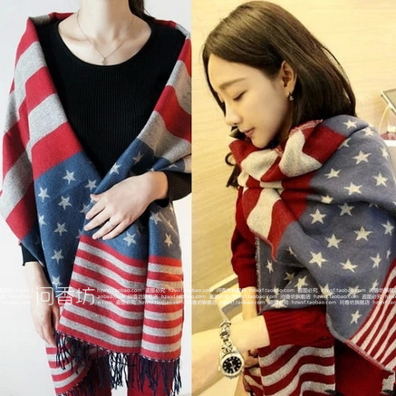 2016 Winter Thickening American flag faux woolen stars Women Men scarf cape dual-use ultra long muffler Scarves