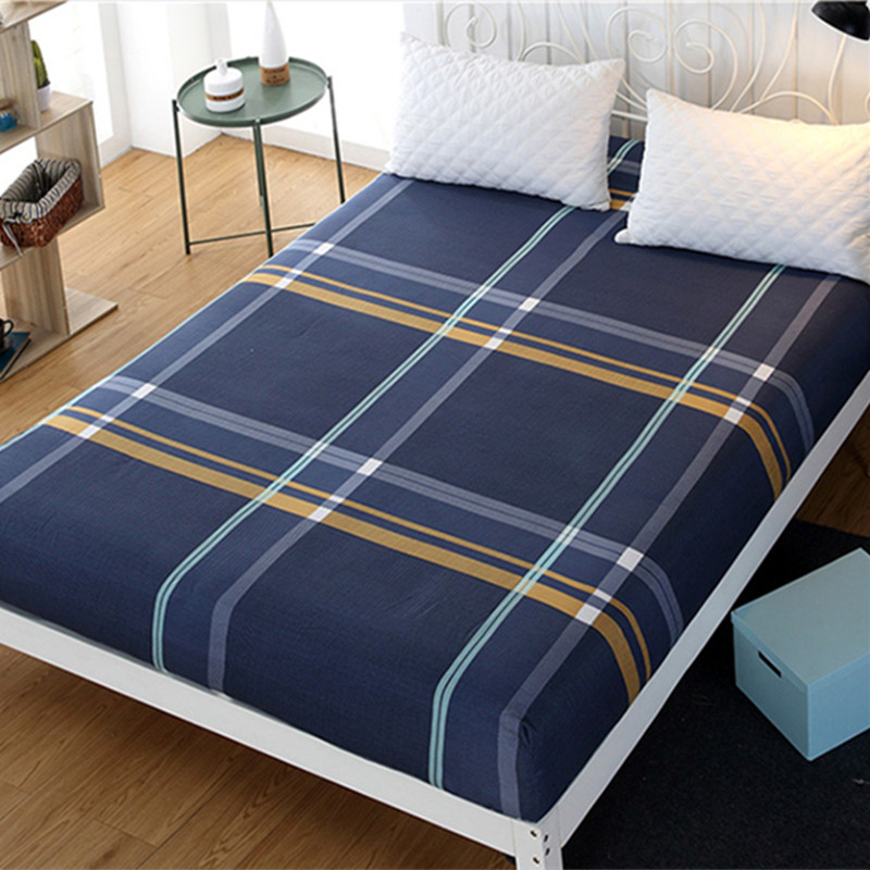 Queen Fitted Sheet King Size Plaid Bed Sheet Microfiber Fabric Polyester Mattress Cover Bed Sheet With Elastic Fitted Bed Sheet