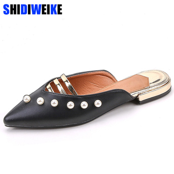Sandals Lady Bling Mules Slingback Pearl Female Footwear