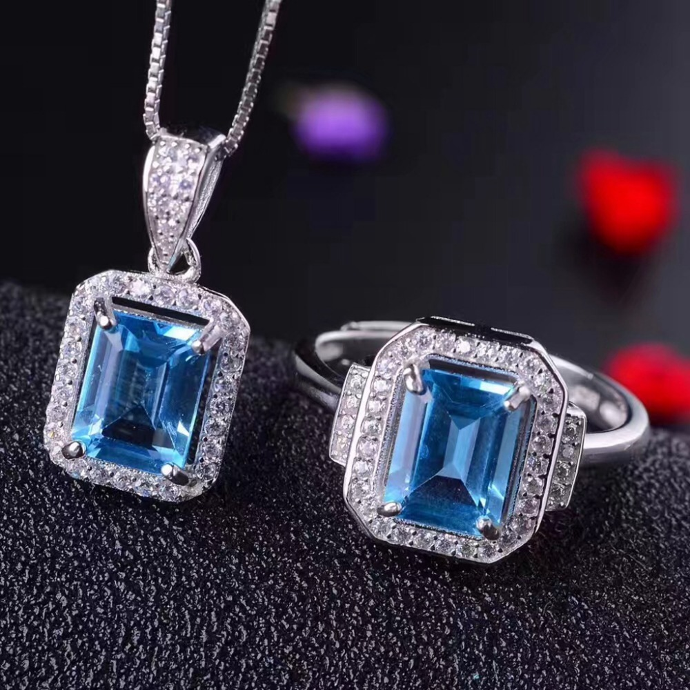 MeiBaPJ S Blue Treasure 925 Pure Silver Tanzania Topaz Suit Necklace and Rings Fine Jewelry Set
