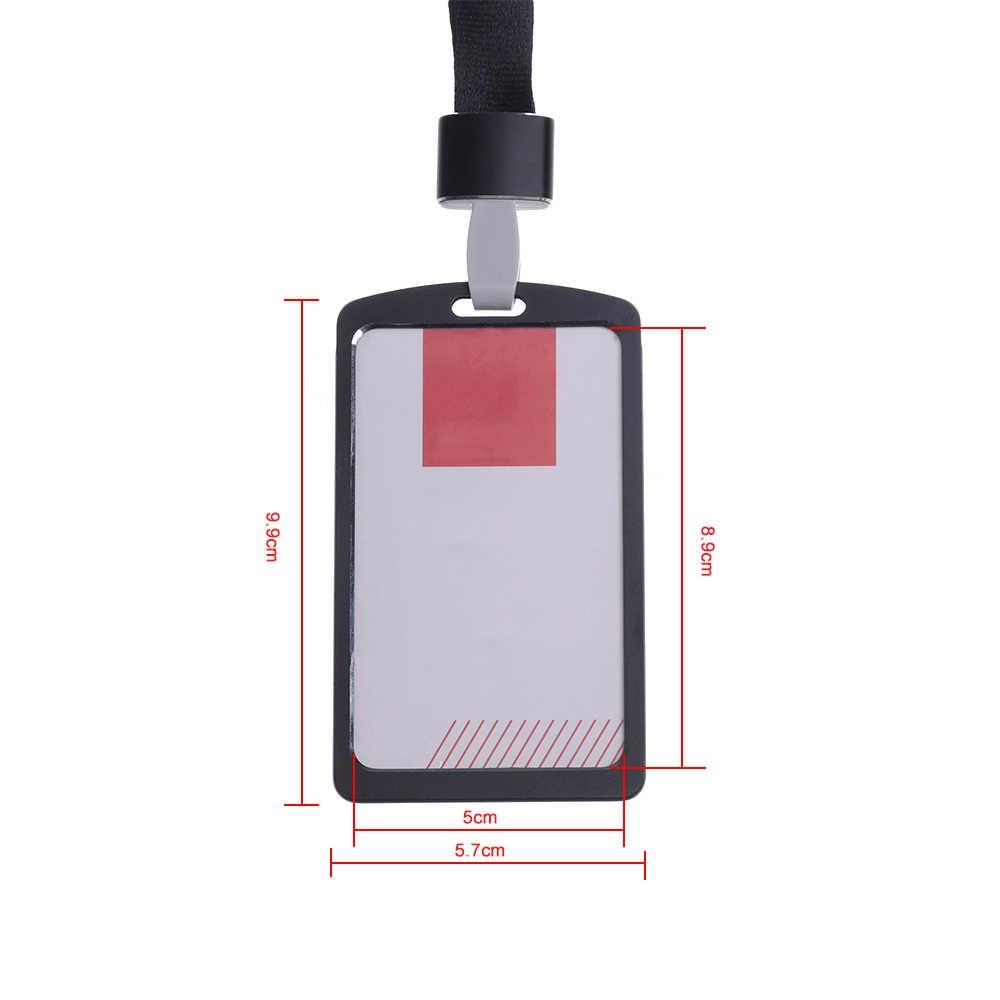1PC Unisex wizytownik ze stopu aluminium wizytownik biznesowy uchwyt smyczy z liną identyfikator karty pracy metalowy pokrowiec biznesowy