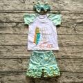 Новорожденных девочек наряды девушки бутик одежды Девушки Летом с коротким рукавом перо капри золотой горошек рябить брюки установить заставку