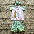 Niñas bebés trajes girls boutique Niñas trajes de Verano de manga corta capris de plumas de oro polka dot ruffle pant headband set