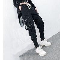 2019 Hip Hop Big Pocket Black Cargo Pants Streetwear Elastic Overalls Trousers Casual female Harem Pants Black for Women