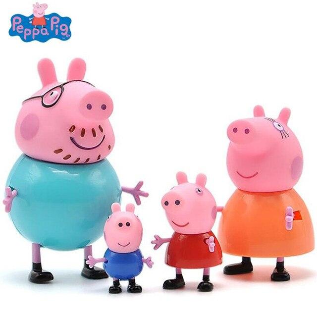 4 Pcs Peppa pig George porco da guiné Family Pack Mãe Pai Figura de Ação Original Pelucia Anime Brinquedos Para crianças dos miúdos presente