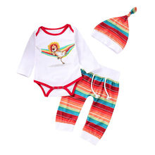Hot Selling Newborn Baby Boys Girls Clothes Set Little Kid Long Sleeve Cartoon Lion Top+ Rainbow Print Pants Hat Three-Piece Set(China)