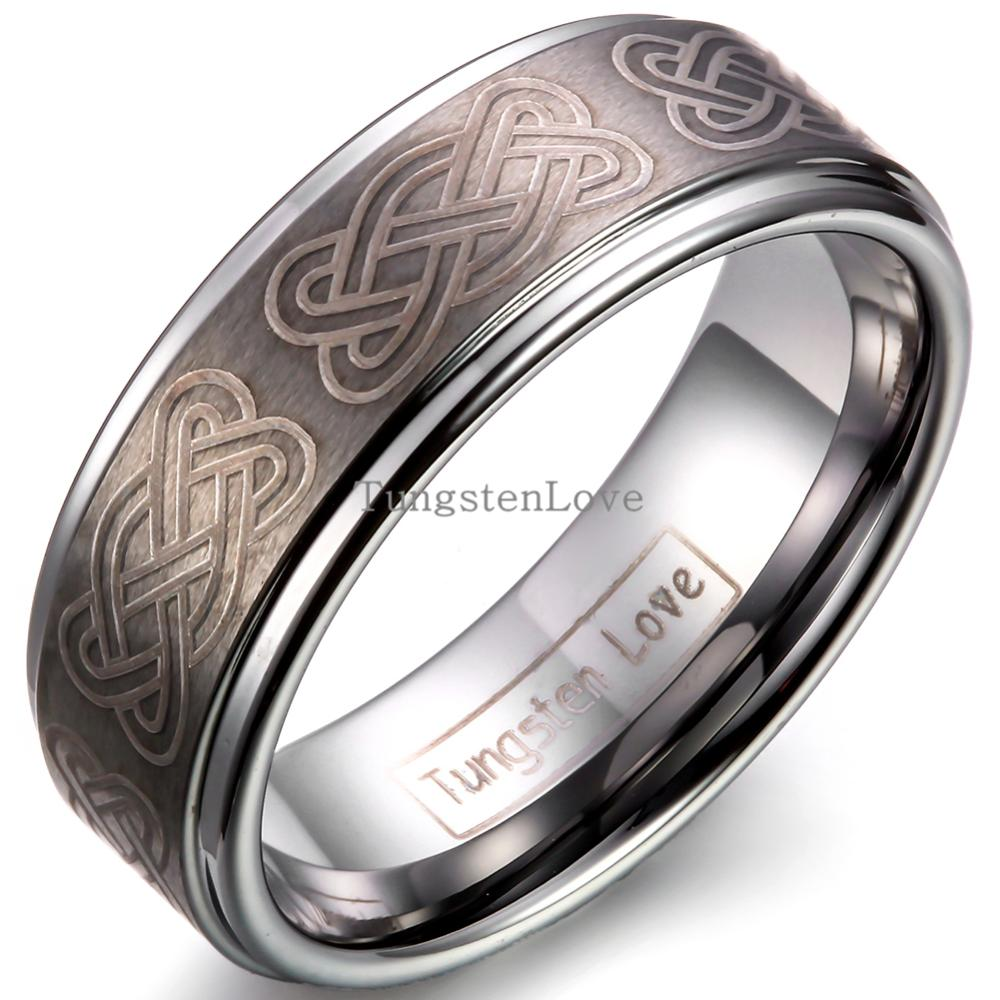 8mm Vitage Tungsten Carbide Wedding Band Rings Engraved With Gothic Knot  Men Unique Engagement Rings For