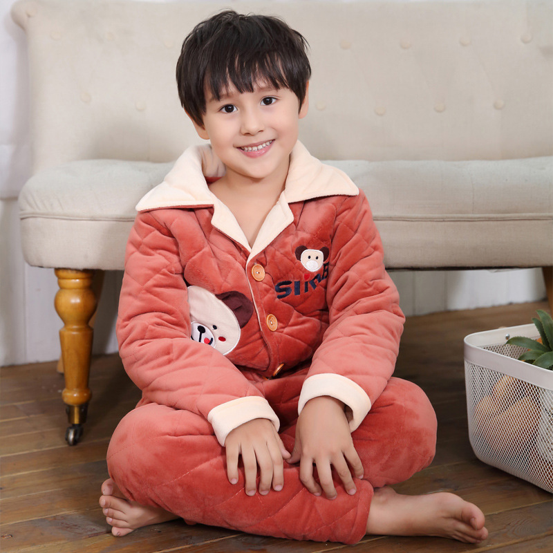 Bathrobes Warm Bathrobes Children Cute Athrobes Carol Fleece Winter Robes Pajamas Children's Home Clothes Suit