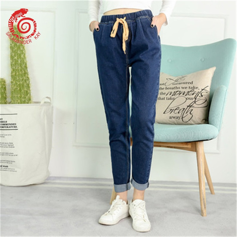 Gloria 2018 Women Big Jeans With High Waist Harem Pants Of Ladies Elasticity Boyfriend Jean Blue Loose Women's Plus Size Befree