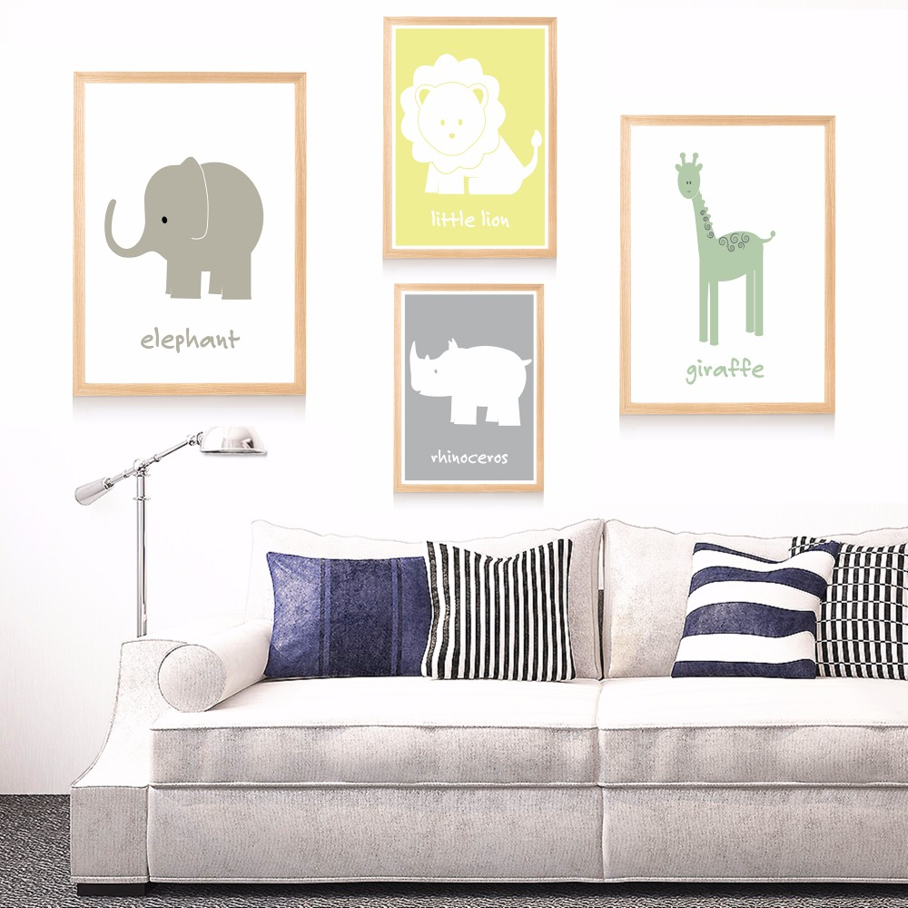 Safari Themed Nursery Canvas Art Print Painting Poster Wall Pictures For Kids Room Home Decorative Bedroom Decor No Frame