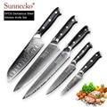 Juego de cuchillos de cocina SUNNECKO 5 piezas japonés Damasco VG10 Super acero afilado Cuchillo de Chef mango G10 Chef cortador de cocina herramienta